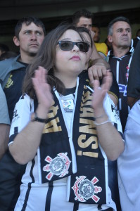 Fabiele na torcida do Corinthians no último domingo (26)